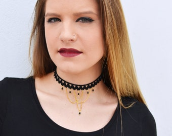Choker necklace, Lace necklace, Black lace choker, Gold chain choker, Unique choker, Gift for Her, Trendy Choker, Chic lace choker, Beaded