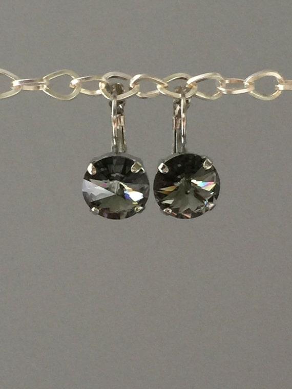 Black Diamond Swarovski Crystal Earrings, Silver