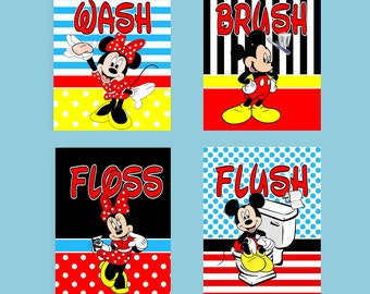 Mickey Mouse Minnie Mouse Stripes and Polka Dots Wash Brush Floss Flush Bathroom Prints
