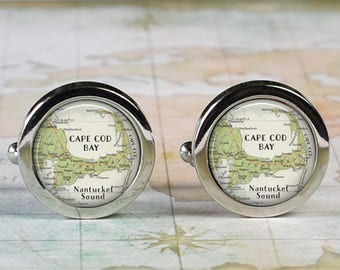 Cape Cod cuff links, Cape Cod map cufflinks wedding gift anniversary gift for groom groomsmen gift for best man Father's Day gift