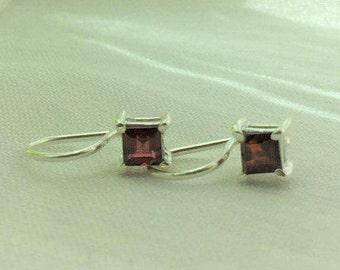 Red Garnet Gemstone,  Square cut, Silver earrings