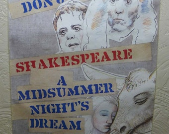 1982 Original New York Shakespeare Festival Delacorte Theater Central Park Paul Davis Poster Moliere Don Juan Midsummer Night's Dream