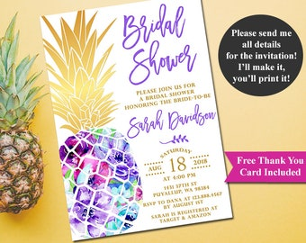 Pineapple Bridal Shower Invitation, Tropical Aloha Bridal Shower Invitation, Luau Invitation, Hawaiian Invitation, Printable file only
