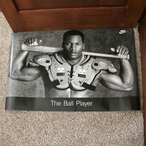 Vintage Bo Jackson 1988 Nike Poster Baseball Football Ball Player 36 x 24
