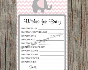 Powder Pink Grey Baby Shower Wishes for Baby Shower Game Printable Instant Download Elephant diy Dear Baby Advice Game diy - 043