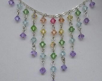 Pastel Multi Swarovski Crystal necklace sterling
