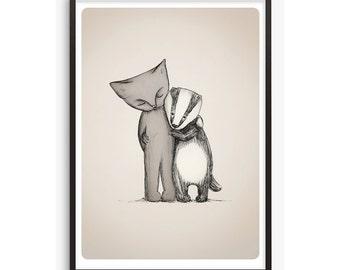 Cat Badger Illustration art print - A4 / A5 - animal kitten badgers