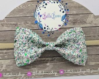 "Clover Glitter hair bow-Alligator Clip-Baby Headband-Photo Prop-Chunky Glitter-Toddler Hair Accessories-4"" hair bowGlitter Hair Bow"
