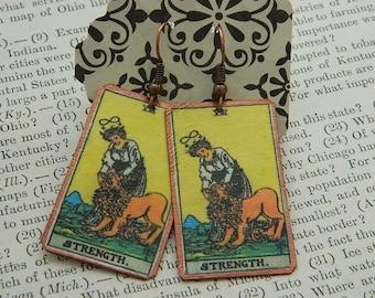 Tarot earrings Tarot Jewelry Strength mixed media jewelry supernatural jewelry