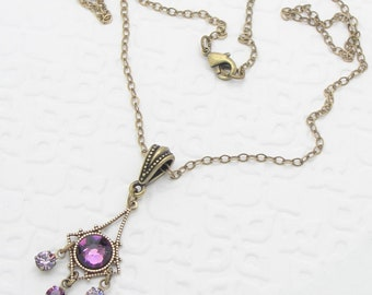 Purple Dangle Necklace in a Small Chandelier Style with Amethyst Rhinestones