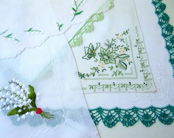 Vintage Hankies   ,  Floral Hanky , Green   Hankies ,   Handkerchiefs - set  of 5.