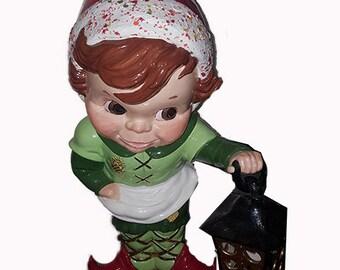 Santa's Little Helper Lighting the Way, Ceramic ELF Figurine