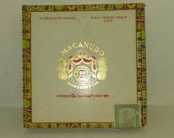 "Vintage Macanudo wooden cigar box 8""x8""x1"""