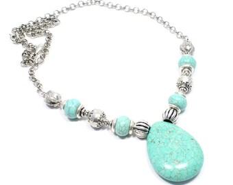 Turquoise Necklace - Turquoise Jewelry - Turquoise Howlite Pendant - Turquoise Pendant - Beadwork Jewelry - Big Skies Jewellery