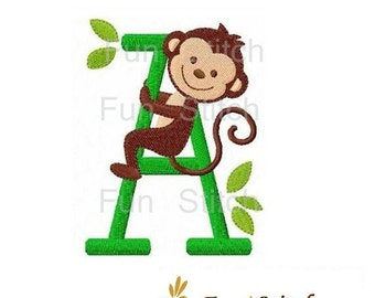 set of 26 monkey letters font machine embroidery design