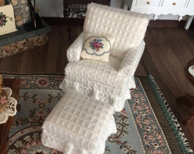 Featured listing image: SALE Miniature White Chair and Ottoman, 2 Piece Set, Style 65, Dollhouse Miniature Furniture, 1:12 Scale, Fabric Covered Chair with Stool