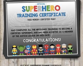 Superhero party training completion certificate superhero training certificate 2 versions blue and gray digital printable diy yadclub Images