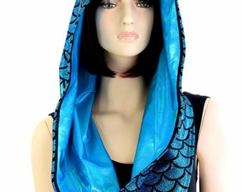 Reversible Infinity Festival Hood in Turquoise Mermaid/Dragon Scale & Peacock Blue Holographic - 154305