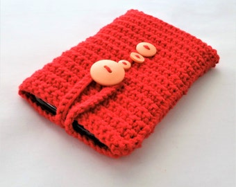 Crochet Phone Caddie, Phone Cozy, Phone Sleeve, Crochet Mobile Phone Cover, Smart Phone Case, iPhone Cover, Samsung Phone Cover (red & pink)