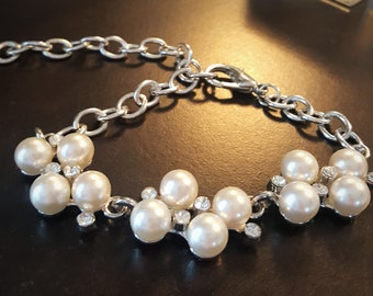 Mid Century Faux Pearl and Rhinestone Cluster Bracelet