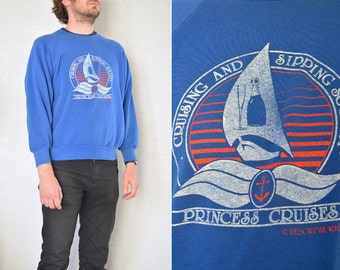 SALE // Size M/L // CRUISING & SIPPING Society Sweatshirt // Royal Blue - Novelty Sweater - Vintage '80s.