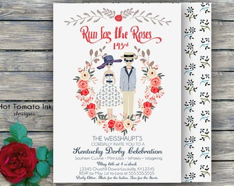 Kentucky Derby Invitation- Kentucky Derby Party- Run for the Roses Invitation - Couple invitation- Floral Derby Invitation- Printable-