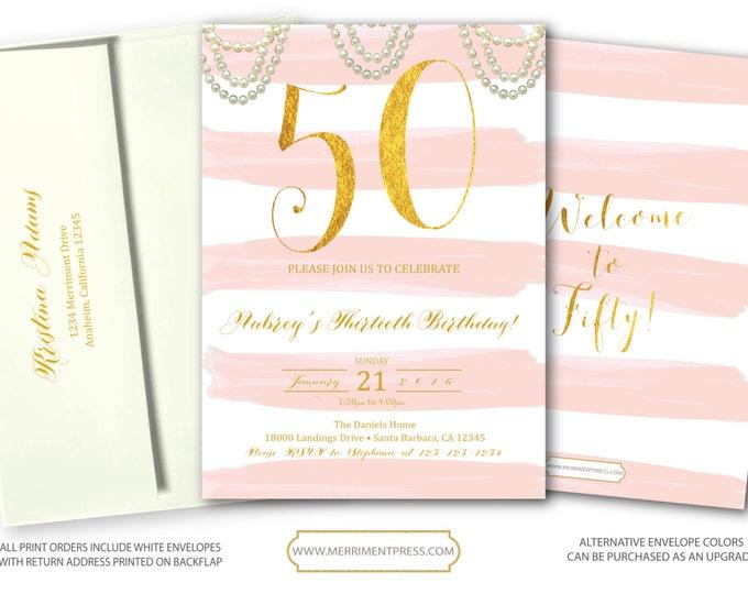 Pink and Gold Striped 50th Birthday Invitation Blush Pink and gold glitter Birthday Invitation Stripes Pearls Printed - SANTA BARBARA