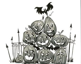 Pumpkins & bats original drawing