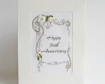 50th Anniversary card, embroidered greeting card, special milestone celebration card, silk ribbon card, handmade card, ribbon embroidery