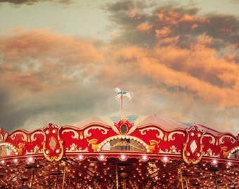 Wonderful Whirled, Carousel Photograph, Nursery Decor, Jersey Shore, Merry go round