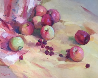 Apples and Cherries | Original Still Life Oil Painting on Canvas 24inX20in