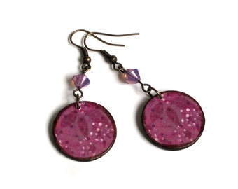 Purple Crystal Earrings Decoupaged Lightweight Circle Dangle Fall Autumn Jewelry Gifts for Her