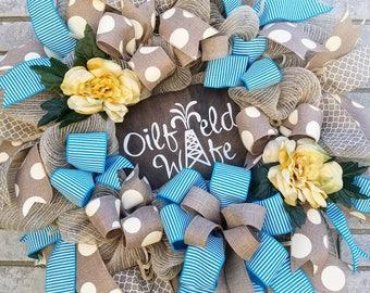 Oil Field Wife Wreath everyday door wreath home decor