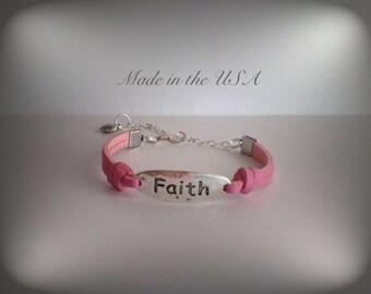 Faith bracelet, inspirational bracelet, Silver faith charm bracelet, adjustable bracelet, Christian bracelet, faith jewelry, Christian gift.