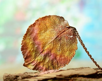 nature garden jewelry real leaf necklace electroformed copper pendant