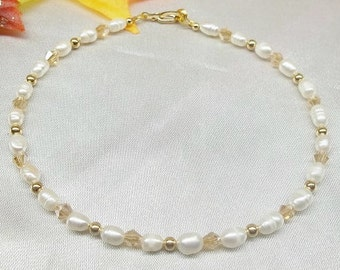 Solid 14kt Gold White Pearl Ankle Bracelet Solid 14k Gold Ankle Bracelet Real 14kt Gold Anklet 14k Gold Bracelet Stamped BuyAny3+1Free