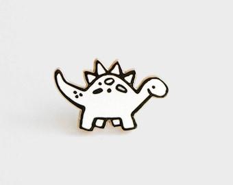 Gold Dinosaur Enamel Pin, Stegosaurus Pin, Gold and White Enamel Pin,
