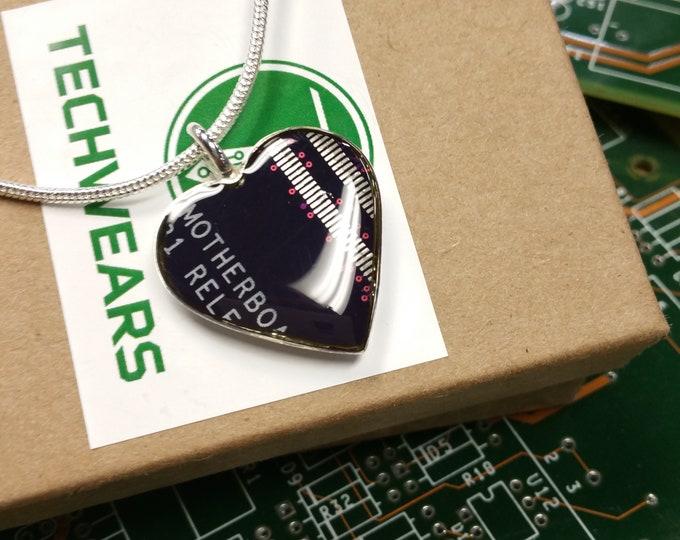 Purple Circuit Board Heart Pendant for Mom