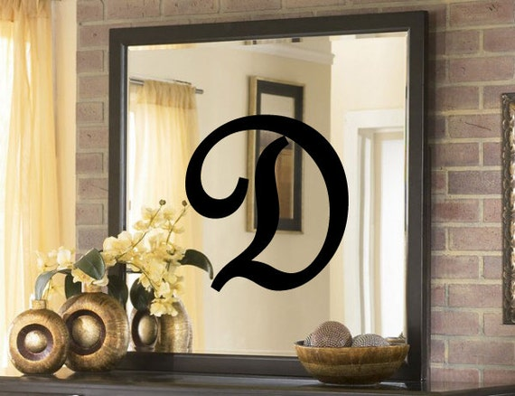 Large initial monogram vinyl decal for mirror or wall