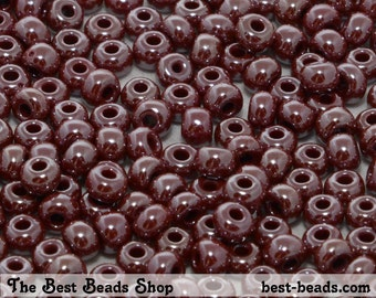 25g (330pcs) Lustered Pale Puce Shery Red Rocaille 6/0 (4.1mm) Preciosa Czech Glass Seed Beads