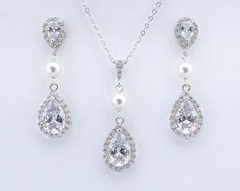 Celena - Swarovski Pearl Wedding Earrings, Bridal Earrings + Necklace SET, Crystal Teardrop Earrings, Bridesmaids Gift, Bridesmaid Gift Set