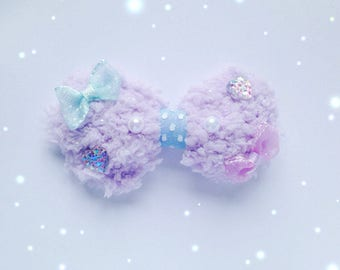 Cute Fluffy Bow with Mini Chiffon Bows, Pearl and Heart Cabochon detailings, Fairy Kei, Sweet Lolita, Pastel Kei, jfashion etc inspired