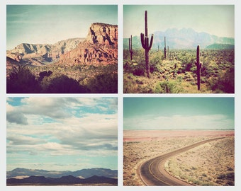Set of 4 Southwest prints, discounted set, Arizona, Southwestern art, decor, landscape photography, nature photographs, desert art
