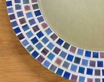 Mosaic Mirror, Round Wall Mirror in Blue Pink Mauve Purple, 30cm Mosaic Wall Art