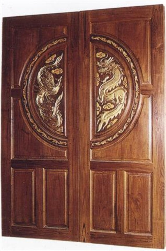 Carved teak interior exterior entry entrance front french double doors with dragon \u0026 rooster. from Edvena on Etsy Studio & Carved teak interior exterior entry entrance front french double ...