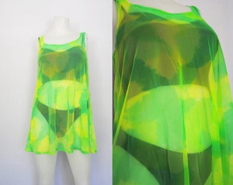 90s neon camo print dress, vintage oversized mesh dress -- army print, cover up, camouflage, see through, black light, 1990s 90s clothing