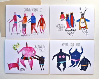 Art Greeting Cards, Illustration, Watercolor, Humor, Gift set, Drawing, Quirky art,  Set of 4