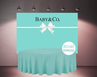Baby Co Backdrop Printable, Baby and Co Shower, White Bow Baby Co Decoration, Robbin Egg Blue Baby Shower Decorations, PDF Instant Download