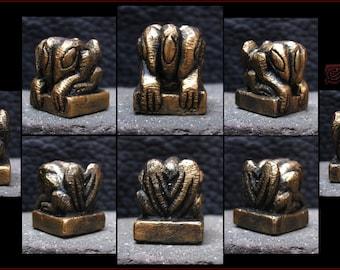 Metallic Bronze Hydra Figure - Strange Creature Idol - Hand Carved miniature Cast in Resin