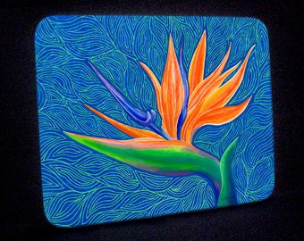 Bird of Paradise Tropical Flower Glass Cutting Board and Hot Plate or Trivet